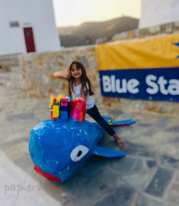 whale made in Astypalaia by papiera and the kids